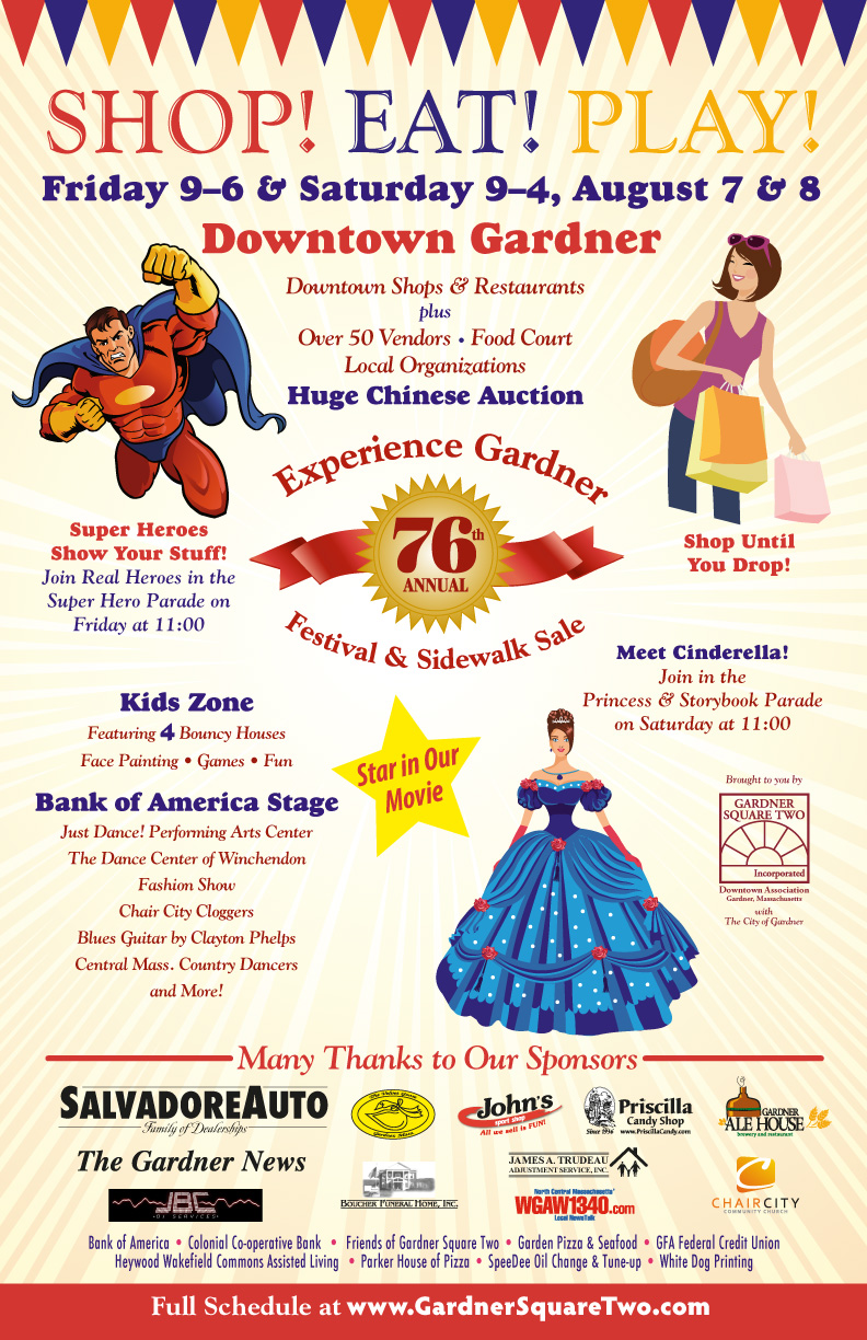 Experience Gardner Festival and Sidewalk Sale, August 7 and 8, 2015